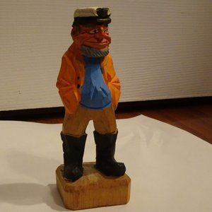 Vintage Sea Captain Wooden Fisherman Hand Carved
